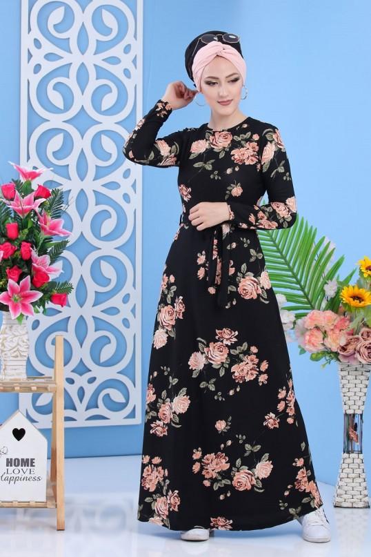 Uzun Kol çiçekli Krep Elbise - Büyük beden