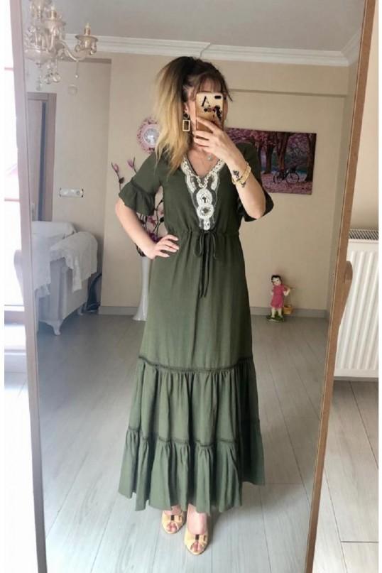 Yakası Boncuk İşlemeli Elbise -HAKİ