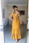 Yakası Boncuk İşlemeli Elbise -HARDAL