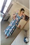 Mavi Çiçekli Yaka Detaylı Elbise