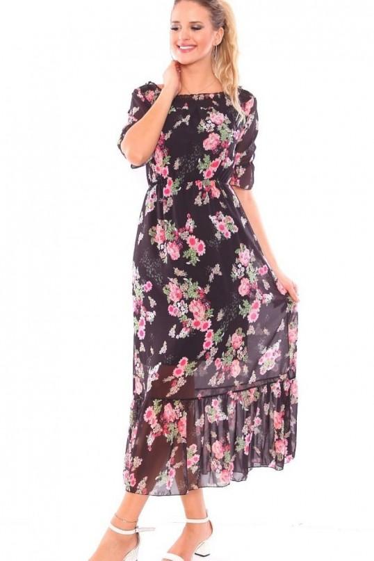 Yaka Lastikli Çiçekli Şifon Elbise