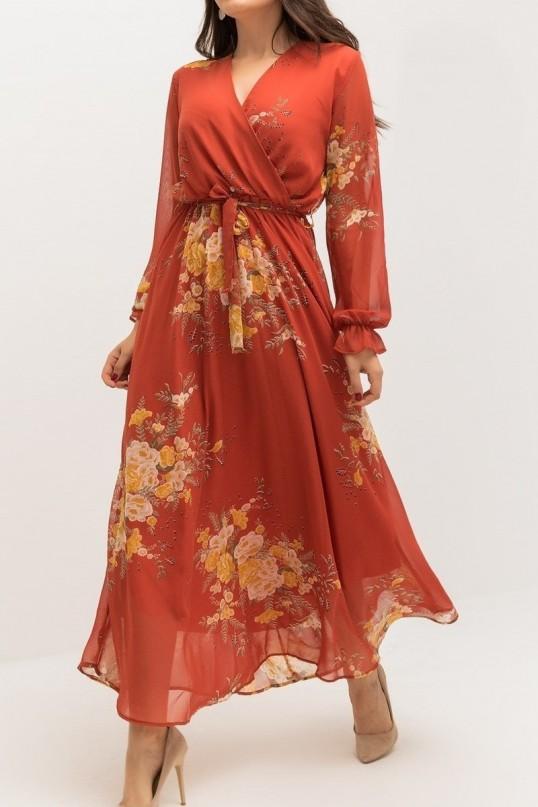 Turuncu Çiçekli Uzun Şifon Elbise