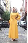 Kolu Fırfırlı İki İplik Elbise  Hardal