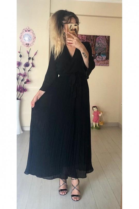Kruvaze Yaka Uzun  Siyah fırfırlı Şifon elbise