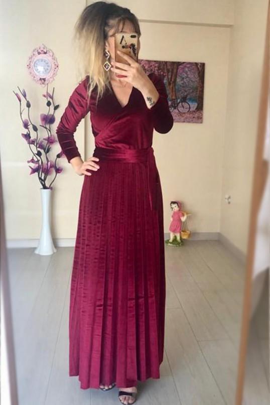 Uzun Pileli Elbise Kadife Elbise bordo