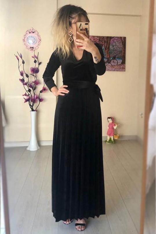 Kadın Ön Kruvaze Model Kadife Siyah Elbise