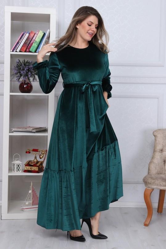 Eteği Fırfırlı Kadife Elbise Zümrüt Yeşili