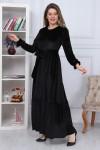 Eteği Fırfırlı Kadife Elbise Siyah