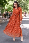Çıtır Çiçekli Kiremit Şifon Elbise