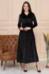 Uzun Kemerli Kolları Düz Kadife Elbise -SİYAH
