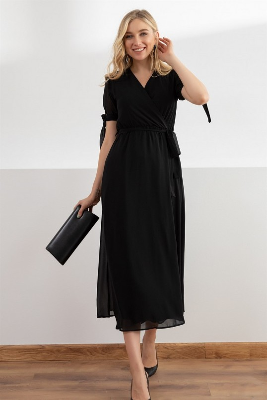 Kol Bağlama Şifon Elbise - SİYAH