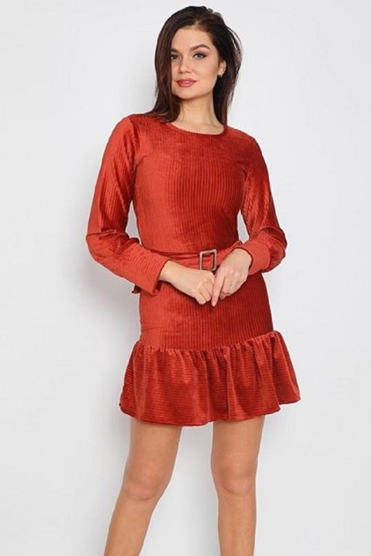 Fırfırlı Fİtilli Kadife Elbise - TURUNCU
