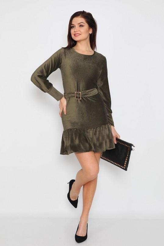 Fırfırlı Fİtilli Kadife Elbise - HAKİ