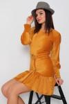 Fırfırlı Fİtilli Kadife Elbise - HARDAL
