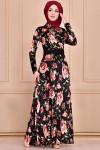 Çiçek Desen Ceket Yaka Elbise - SİYAH
