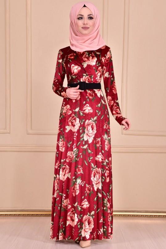 Çiçek Desen Ceket Yaka Elbise - BORDO