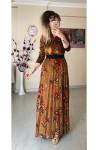 Nar Çiçeği Ceket Yaka Elbise - HARDAL