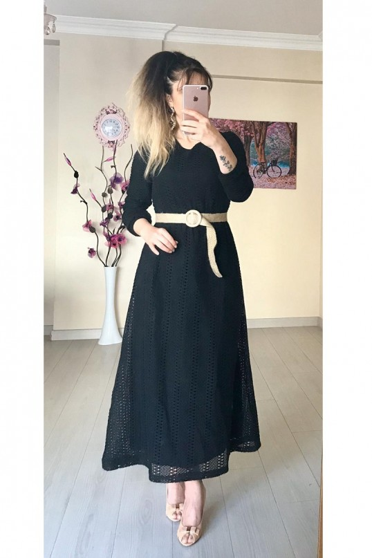 Hasır Kemerli Uzun Güpür Elbise -SİYAH