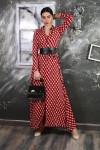 Kırmızı Kemerli Boydan Düğmeli Gömlek Elbise