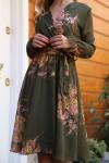 Kısa Sarı çiçekli Şifon Elbise -KİREMİT