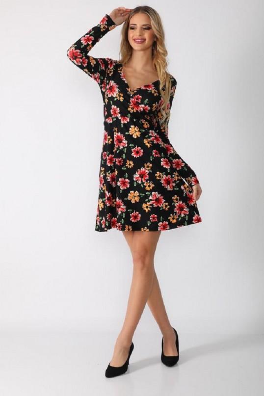 Kısa Menekşe Çiçekli Krep Elbise