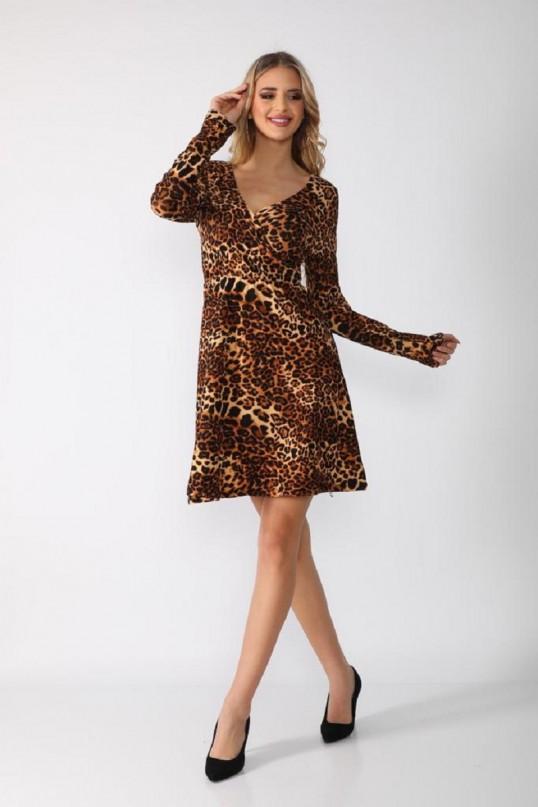 Kısa Leopar Krep Elbise