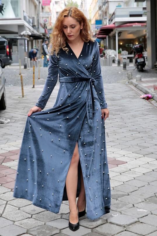 İncili Kadife Elbise - GRİ