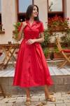Yaka Cepli Gömlek Elbise Kırmızı