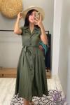 Yaka Cepli  Gömlek Elbise Haki