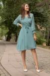 Kısa Düz Şifon Elbise Su Yeşili