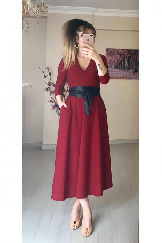 Kruvaze Yaka Uzun Kol Düz Bordo Elbise