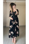 Kruvaze Yaka Çiçekli Uzun Kol Krep Elbise