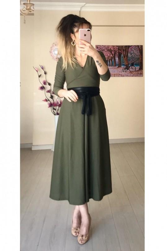 Kruvaze Yaka Uzun Kol Düz Krep Haki Elbise