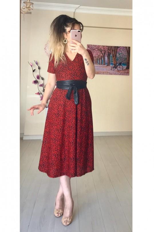 Kısa Kol Kırmızı Leopar Krep Elbise