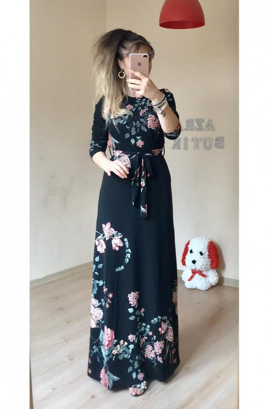 Uzun Karanfil Desenli Siyah Elbise