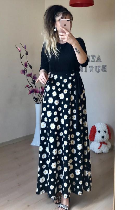 Üst siyah alt papatya elbise