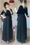 Üst siyah alt puanlı elbise