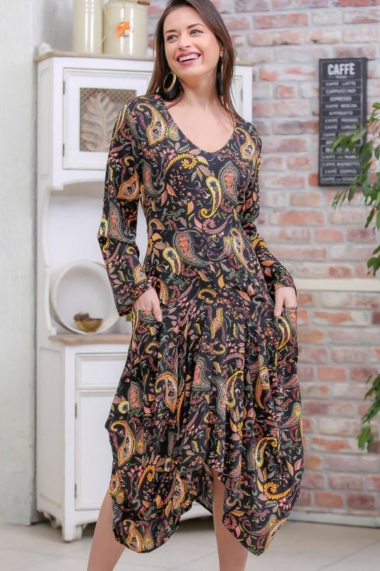 U Yaka Şal Desen Elbise Kahverengi