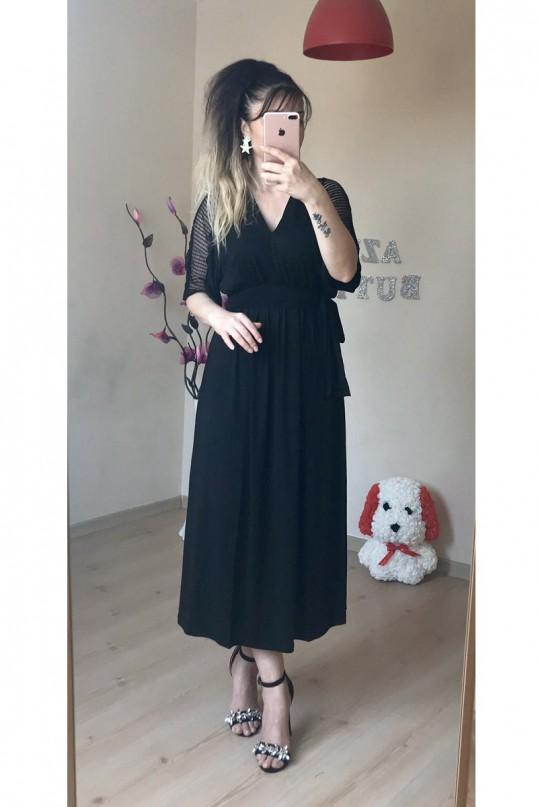 Kol File Şerit Detaylı Elbise