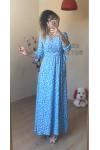 Bebe Mavisi Yaprak Desen Uzun Krep Elbise