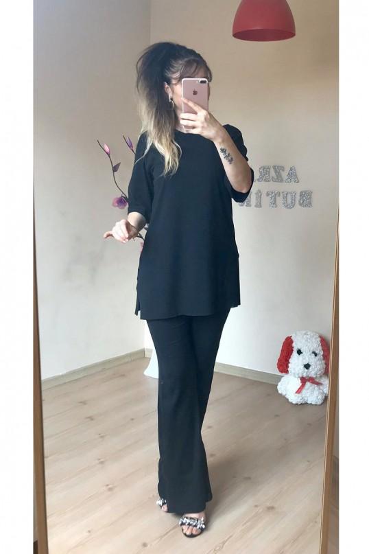 Kısa Kol Yan Yırtmaçlı Siyah Takım