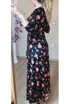 Uzun Kırmızı Çiçekli Kadife Elbise