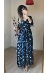 Uzun Lacivert Mini Çiçekli Kadife Elbise