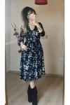 Kısa Lacivert Mini Çiçekli Kadife Elbise