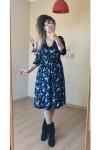 Kısa Lacivert Pembe Mini Çiçekli Kadife Elbise