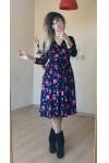 Kısa Lacivert Pembe İri Çiçekli Kadife Elbise