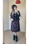 Kısa Siyah Kırmızı İri Çiçekli Kadife Elbise
