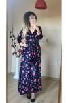 Uzun Lacivert Pembe İri Çiçekli Kadife Elbise