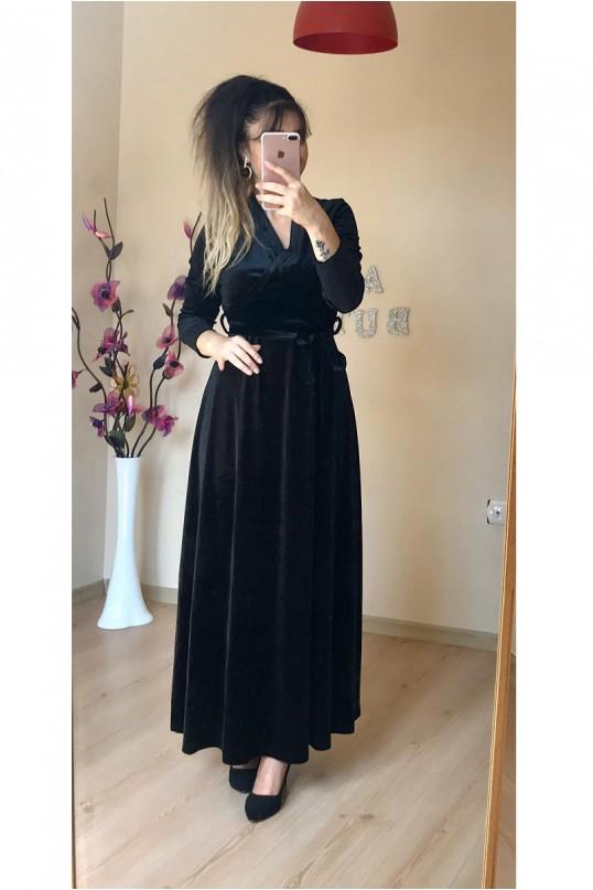 Kruvaze Yaka Uzun Düz Kadife Elbise Siyah