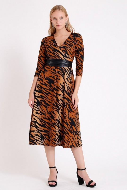 Kruvaze Yaka Uzun Kol Kahve Zebra Desenli Elbise
